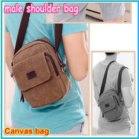 New arrival 2014 Promotional hot new Canvas bag male shoulder bag Men messenger bags small leather casual man bag men's