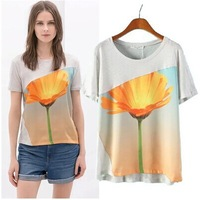 Free shiping 2014 spring and summer new European style digital mosaic flower print T-shirt women's jackets