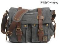 Free Shipping 2014 Wholesale Men's Vintage Canvas Leather School Military Shoulder Bag Messenger Bag Satchel 3 different Size