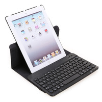 DHL Free Shipping 360 Degree Rotating Bluetooth Keyboard Tablet Stand Leather Case Cover for iPad 2 iPad3 iPad4