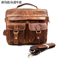 """Free Shipping High Quality 100% Full Crazy Horse Leather Men's Messenger shoulder handbag vintage Business briefcase13""""laptop"""