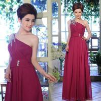 Hot-selling multicolor sexy one shoulder long design bride elegant evening dress