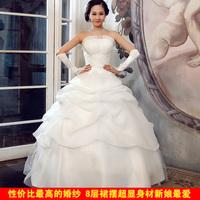 2014 wedding formal dress princess tube top wedding dress plus size lace ladies autumn and winter