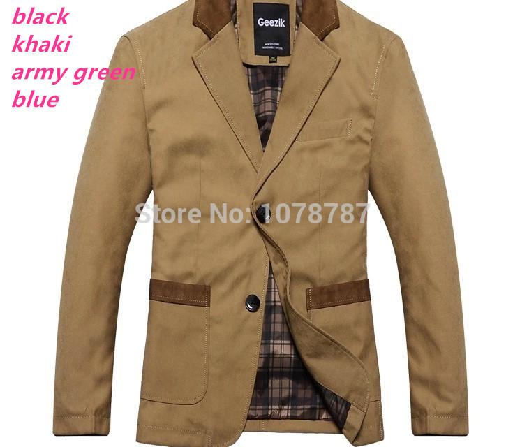 Suits man jacket khaki army green mens blazers slim fit work wear jpg
