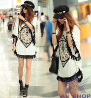 Brand New 2014 Korean Women' Summer Tops Woman Fringed Hem Loose Short Sleeve Long Batwing Tees Shirt Blouse T-shirt Tops 8771
