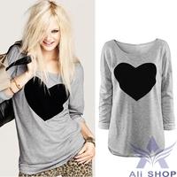 2014 New Fashion Long T shirt For Women Heart Tops Sweatshirt Long Sleeve Loose T-shirt Plus Sizes Tees Shirts Clothing 18409