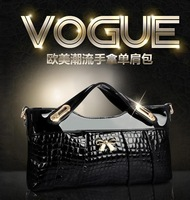 The new 2014 European and American fashion crocodile grain han edition leather handbag shoulder aslant bag cow leather handbag