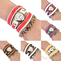 New Fashion Women's Vintage Contrast Color Leather Weave Wrap Bracelet Quartz Wrist Watch