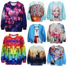 Fashion Novelty New 2014 Animal Creative 3D Print Sweatshirts Men Women Harajuk Pullover Hoodies free shipping(China (Mainland))