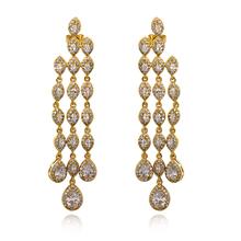 Luxury Marriage Jewelry 18K gold plated white cubic zircon Elegant Ethnic dangle earrings Female Long Tassel earring L&Y 64871