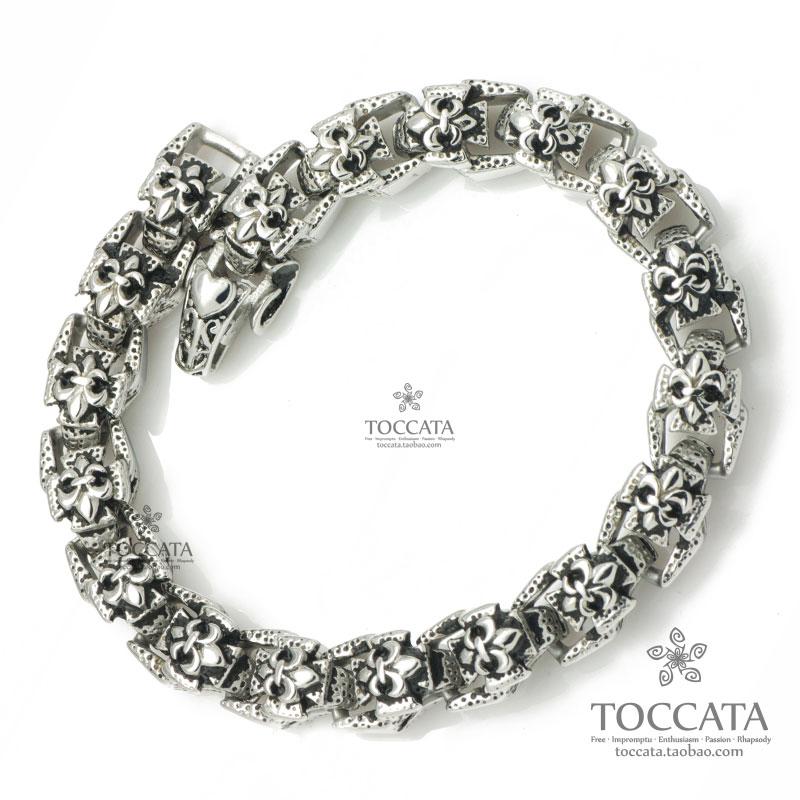 Fashion vintage joistjoist buckle small flower flower-de-luce bracelet for men anchor stainless steel snake EXO bracelet(China (Mainland))