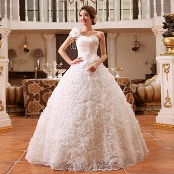 2014 новый невесты плечевой ремень свадебное платье одно плечо блестка повязку шнуровка свадебное платье бальное платье vestido де noiva