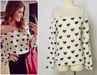 New 2014 Fashion Women Blouses Tulle love Chiffon Blouse Spring Summer ladies casual Blusas Femininas Shirts Tops Sale