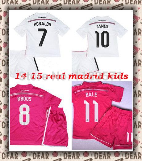 New Real Madrid Kids jersey, 14 15 Real Madrid Ronaldo Kids kit , Pink real madrid Bale ninos equipacion futbol Benzema maillot(China (Mainland))