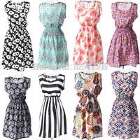 2014 New Fashion Summer Women's vestido estampado printed Crew Neck Casual Chiffon Sundress Sleeveless Mini Dress casual beach