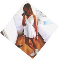 Free Shipping 2014 Summer New Fashion Casual Dress White Pleated Spaghetti Strap V-neck Chiffon Lace Women Dress