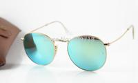 2014 New Style Hot Sell Desinger Sunglass Men's/Women's Fashion 3447 112/19 ROUND Metal Gold Sunglass Jade Iridium Lens 50mm