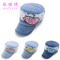 Korean version of the new spring and summer fashion lady lipstick cowboy hat tidal flat cap navy hat cap wholesale