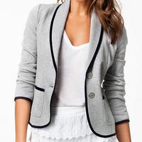 European Fashion Blazer Women's Spring Slim Short Design Turn-down Collar Blazer Grey Short Coat Jackets for women NZ186