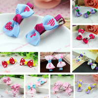2014 Hot Sale Korean Fashion Cute Bowknot Hairpins For Girls Mix Color Children Barrettes Baby Hair Clips Kids Hair Accessories