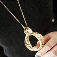 New Fashion  Necklace women Gold Tone Metal Multi Weave Hoop Circle Long  Pendant Necklace 03QJ