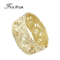 2014 Fashion Gold Color Big Size Elastic Hollow Out Flower Cuff  Bracelets and Bangles for Women
