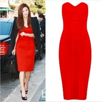 2014 New Arrival Women Sexy Strapless Bowtie Formal Evening Dress Red Carpet Celebrity Bandage Party Dress Knee Length