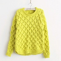 New women's autumn and winter Korean tidal waves wild twist loose circle pullover long sleeve Yellow women sweater