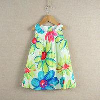 Flowers Print Baby Girls Dress Summer 2014 Fashion High Quality Brand Children Outerwear Casual Kids Clothes Vestidos De Menina