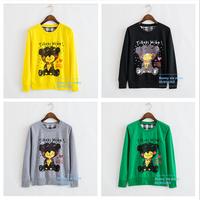 2014 Autumn and winter yellow cartoon panda printing women ladies Cotton sweatshirt hooded cartoon women's hoodies coat