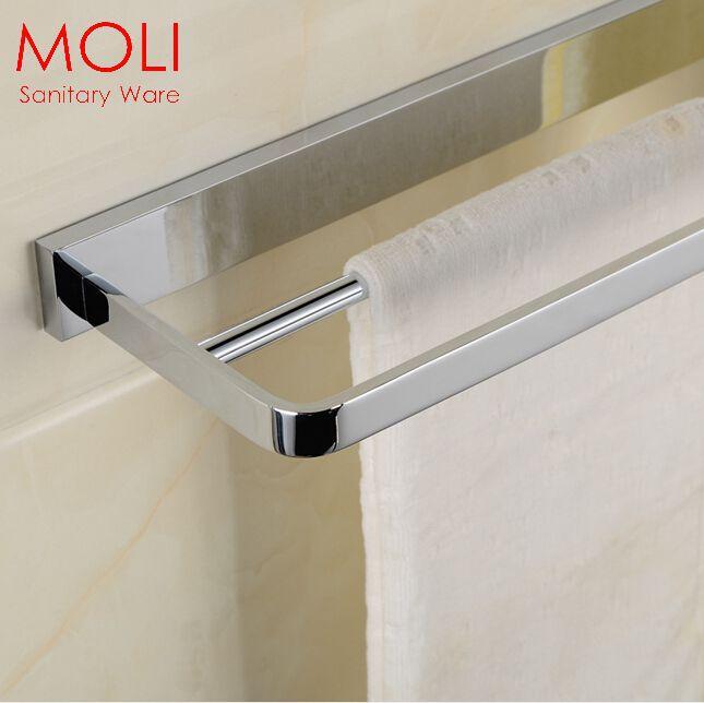 Luxury Double towel bar Bath towel rail for bathroom 60cm towel rack solid brass copper chrome bathroom accessories(China (Mainland))