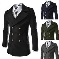 2014 male metal double breasted medium-long wool coat outerwear fashion elegant male