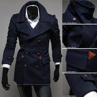 2014 trench coat for men  autumn and winter fashion men trench coat  breasted winter men overcoat wool coat men winter coat