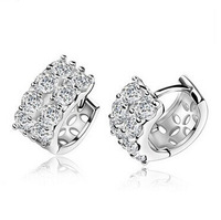 New Hotsale Quality 18K Gold Plated With Clear Zicron Hoop Earrings For Women Fashion Jewelry