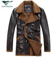 2014 new arrival men winter jacket  thickening berber fleece genuine leather clothing men's fur parkas coat