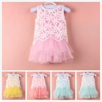 2014 baby girls dress Flower Girl's  Lace girl dress tutu  kid apparel Kids clothes  13DEC105-LIU-LQ-1