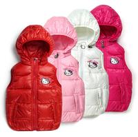 2015 new children's winter Outerwear Coats Hello Kitty Girl's vest hooded vest Kids windbreaker Jacket 100% cotton warm vest