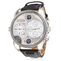 Men's Multi-Movement White Round Dial PU Band Quartz Analog Wrist Watch (2 Time Zones)