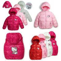 2014 new Hello Kitty girl's winter jacket & warm hooded jacket.100% cotton jackets and coats. Hot retail cartoon vest & coat.