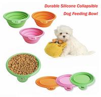 Free Shipping 10pcs/lot Portable Pet Bowl, Collapsible Dog Feeding Bowl, Environmental Food Grade Silicone Used, Multi-Color.