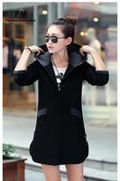 Casual Hoodied Coats & Jackets Women Long Sleeve Cotton Slim Fit Coat Outwear New Casacos Femininos Women Clothes Long AW14J001