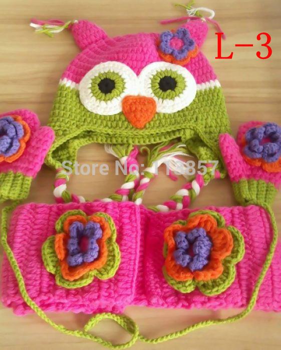 beautiful handmade crochet owl hat mittens and scarf 3pcs sets(China (Mainland))