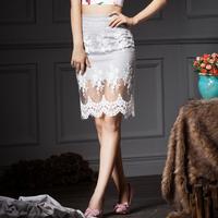 YIGELILA 5181 Latest Fashion Women Yarn Lace Hem Knee-Length Pencil Slim Skirts Free Shipping