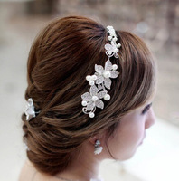 Min order $10 Free shipping 2014 new style bridal wedding jewelery set crystal pearl flower hairbands woman accessories XB07