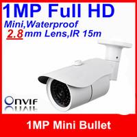 Free shipping Mini CCTV HD outdoor IR white case IP Camera 1Megapixel 2.8mm Lens H.264 ONVIF POE Optional Bullet/Support Dahua