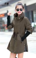 Plus Size Jackets Women Parka New 2014 Large Collar womens Waisted Big Size Female Autumn jacket Khaki Coat AW14J002