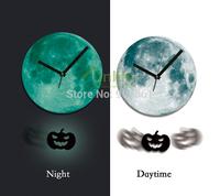 Funlife 30cm Dia Acrylic Halloween Pumpkin Jack-o'-lantern Pendulum Glowing Moon Wall Clock Luminous for HomeDecoration wcBD0013