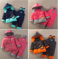 Retail Child Winter Warm brand Down Parka baby boy girl Suit Kids Outdoor Outwear Coat + Jumpsuit Twinset 7 Colors