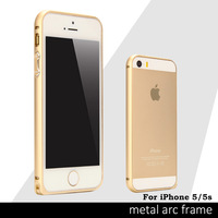 Hot Sales Case For Iphone 5S Circle Arc No Screw Metal Button Ultra thin Aluminum Bumper Cover for iPhone5s 5 Luxury Metal Frame