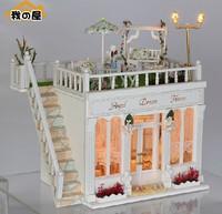 3D DIY LED LIGHT Dollhouse miniatures The balcony penthouse fantasy angle home Kit